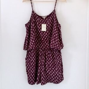 NWOT Lucky Brand Maroon Layered Shorts Romper L